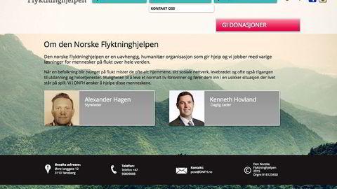 De to mennene fra Nøtterøy, Alexander Hagen og Kenneth Hovland, har opprettet selskapet «Den norske Flyktninghjelpen». Faksimile fra nettsiden.