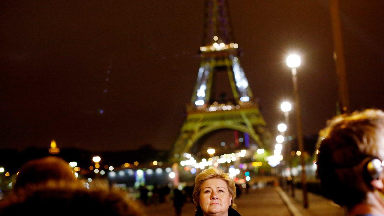 Statsminister Erna Solberg på Trocadero i Paris før klimatoppmøtet. Foto: Øyvind Elvsborg