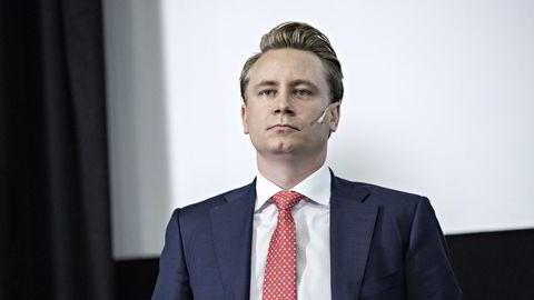 Akastor-sjef Kristian Monsen Røkke under forrige kvartalspresentasjon. Foto: Aleksander Nordahl