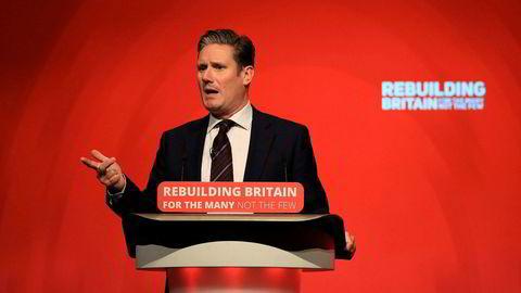 Labours brexit-talsmann Keir Starmer åpner for en ny folkeavstemning om brexit, her på det pågående landsmøtet i partiet i Liverpool.