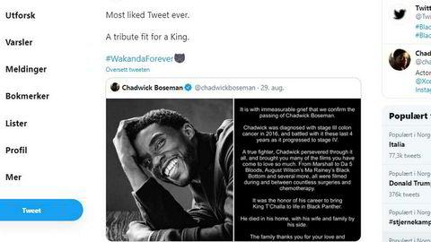 Meldingen om skuespiller Chadwick Bosemans død satte Twitter-rekord. Meldingen om skuespiller Chadwick Bosemans død satte Twitter-rekord.