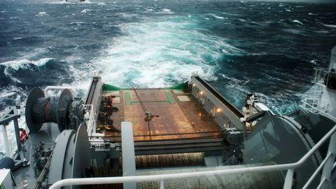 Siden oljeprisfallet i slutten av 2014 har etterspørselen etter service- og ankerhåndteringsfartøyer falt. Her fra ankerhåndteringsbåten Havila Jupiter. Foto: Havila