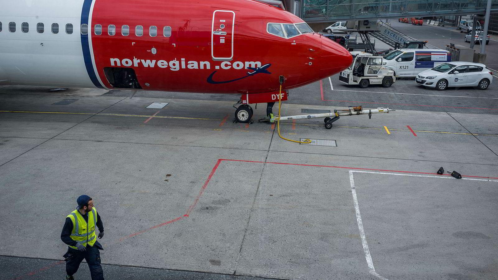 Norwegian-fly på Oslo lufthavn Gardermoen.