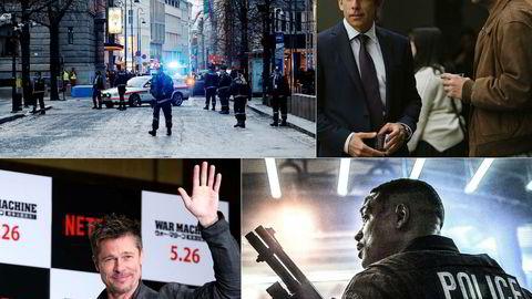 Netflix satser tungt på film. 22. juli-filmen «Norway» (oppe til venstre) er en av filmene Netflix har på planen, sammen med fem nye filmer med komiker Adam Sandler (oppe til høyre). I fjor slapp strømmetjenesten filmer med Brad Pitt og Will Smith. Foto: Cornelius Poppe/NTB Scanpix/Netflix