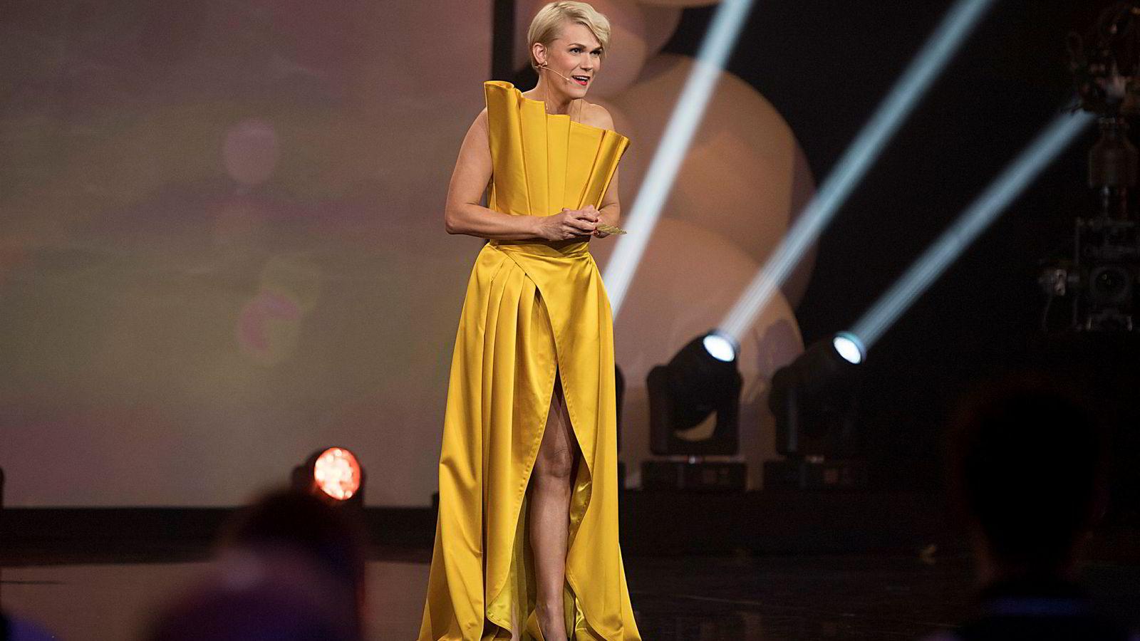 Komiker og samfunnsdebattant Sigrid Bonde Tusviks aksjeselskap håvet inn rekord mye penger i 2018. Her fra «Gullruten» tidligere i år.