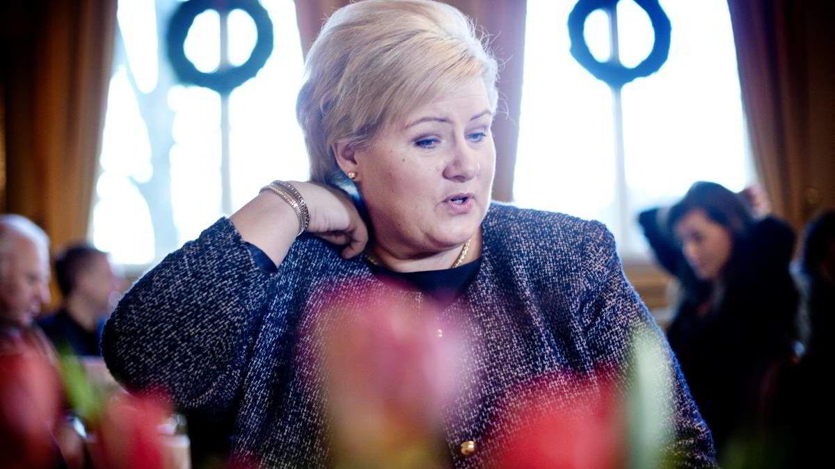 Erna Solberg mener utenforstående vil ha problemer med å skille Frp-erne fra høyrefolkene. Bildet er tatt under statsministerens halvårlige pressekonferansen før jul.