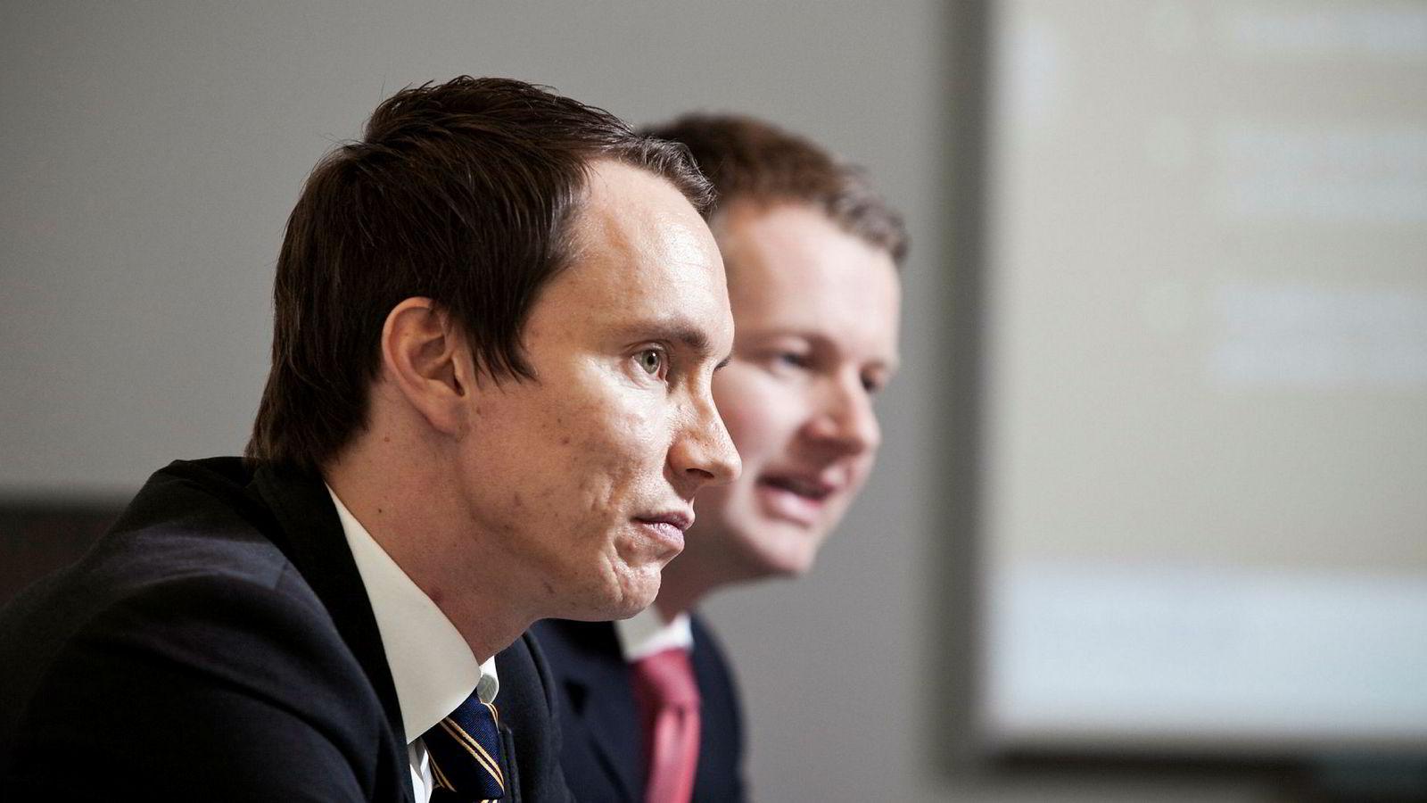 Gründere i The Nordic Group, Erik Egenæs (til venstre) og Endre Tangenes, har kjempet imot inndragelse av konsesjonen til datterselskapet Nordic Securities. Nå må meglerhuset legges ned innen 7. april etter nok et avslag.