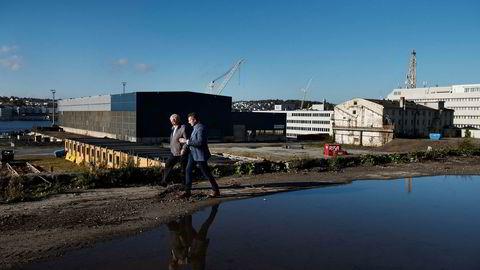 Trygve Jacobsen (til venstre) og Espen Opsanger i Buøy Invest vil bruke milliarder på oljebyens største eiendomsprosjekt.