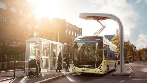 25 slike elektriske busser skal fra 2019 gå i rute i Trondheim. Foto: Volvo