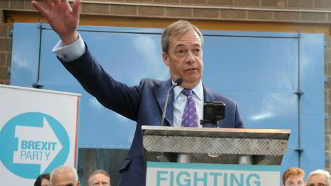 Nigel Farage under lanseringen av det nye Brexit Party i Coventry fredag.