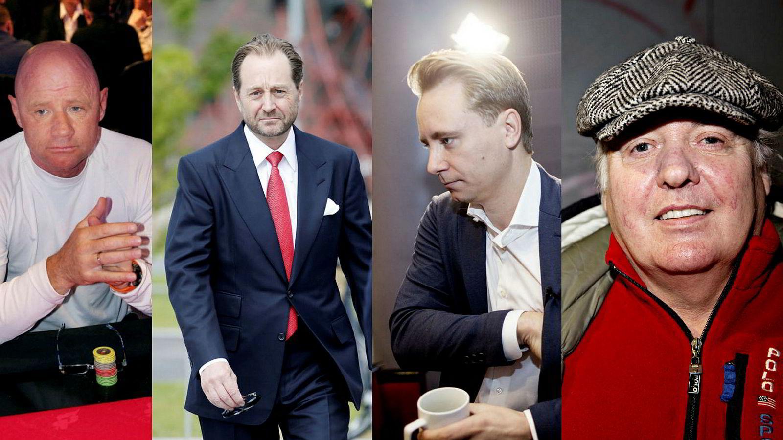 Jan Erik «Jannik» Iversen (til venstre) hevder å ha mottatt penger av Kjell Inge Røkke (nummer to fra venstre). Kristian Monsen Røkke (nummer tre fra venstre) er stevnet inn som vitne i saken mot faren. Per Orveland (til høyre) gjorde hemmelige opptak av Kjell Inge Røkke.