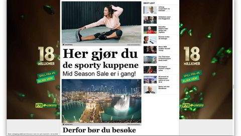 I Nettavisen heter det ikke reklame. De merker betalte artikler med tematitler som «shopping» og «reisetips» og legger til et «med annonselenker». Faksimile av Nettavisen