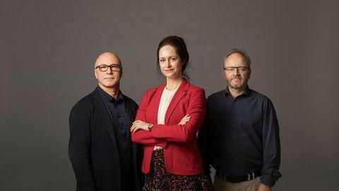 DNs kommentator Terje Erikstad (til venstre), innholdssjef Janne Johannesen og børskommentator Thor Chr. Jensen utgjør DN-podkasten «Finansredaksjonen».