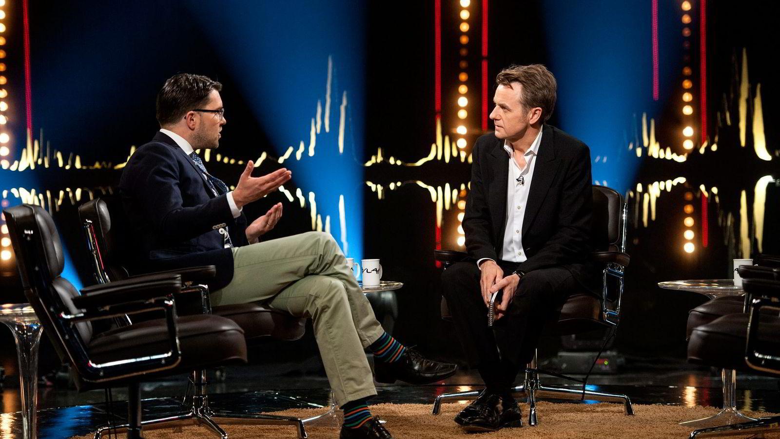 Jimmie Åkesson var gjest hos Fredrik Skavlan fredag 27. mars 2015.