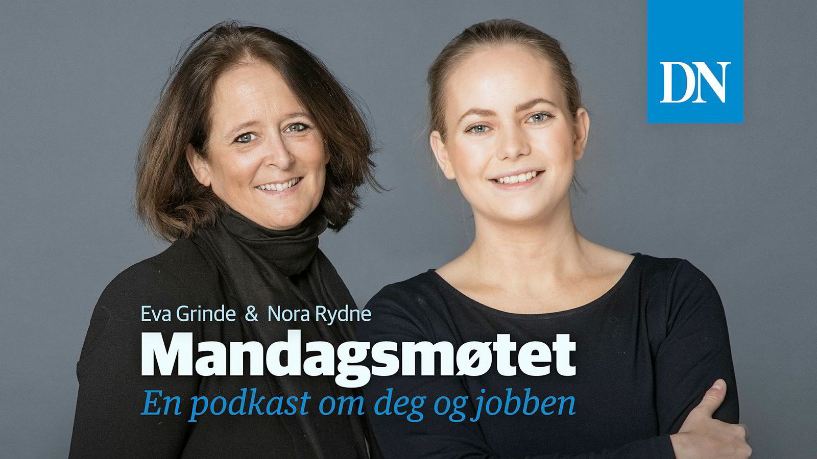 Logo til Dagens Næringsliv sin podkast Mandagsmøtet med Eva Grinde og Nora Rydne