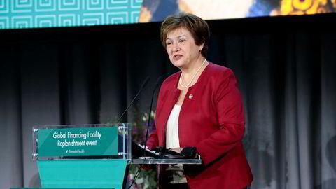 Direktør for Verdensbanken Kristalina Georgieva i Oslo rådhus under en konferanse i november. Hun ligger an til å bli ny IMF-sjef.