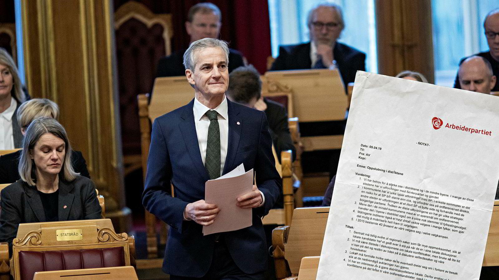 Valgkampledelsen i Ap fikk notatet (innfelt) i juli. Her er Ap-leder Jonas Gahr Støre i Stortinget.