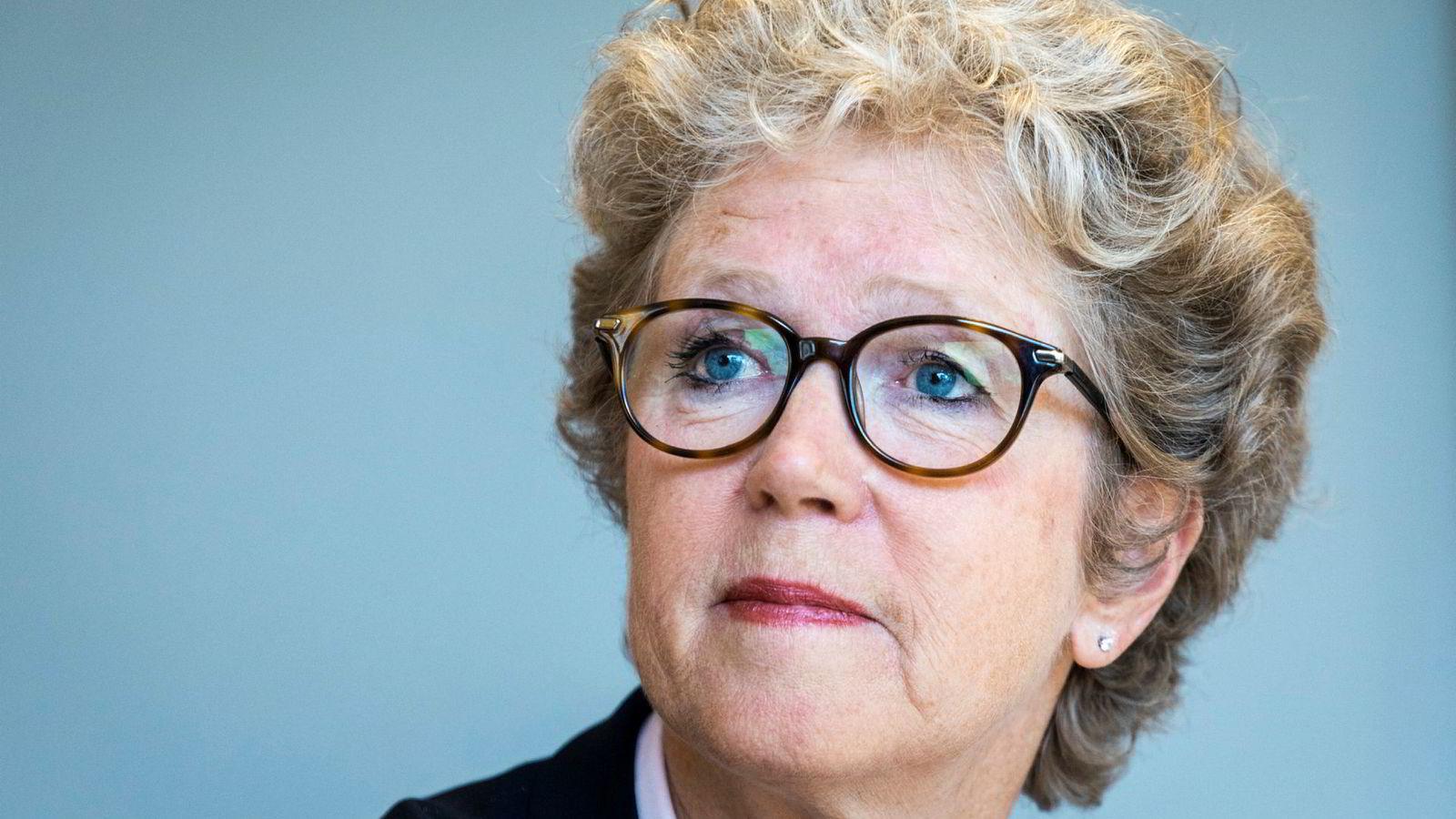 Hilde Merete Aasheim under pressekonferansen der hun ble presentert som ny konsernsjef i Hydro.