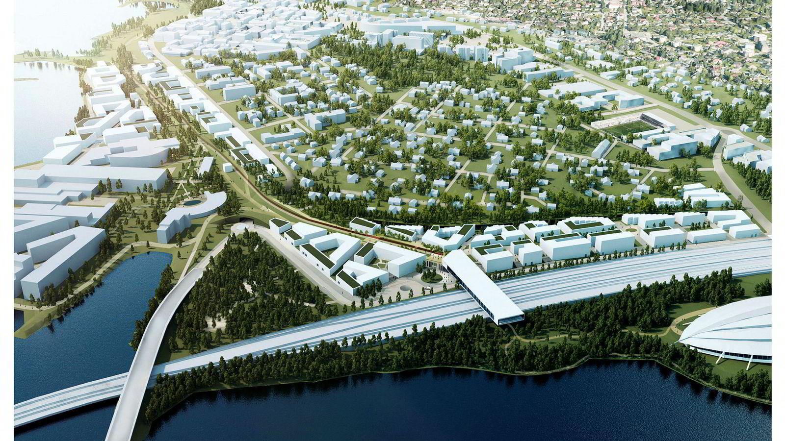 Hamar kommunestyre vedtok før jul at den nye togstasjonen skal ligge ved Vikingskipet. Dette alternativet er blant annet i strid med de nasjonale retningslinjene for bolig-, areal- og transportpolitikk. Illustrasjon: Entasis
