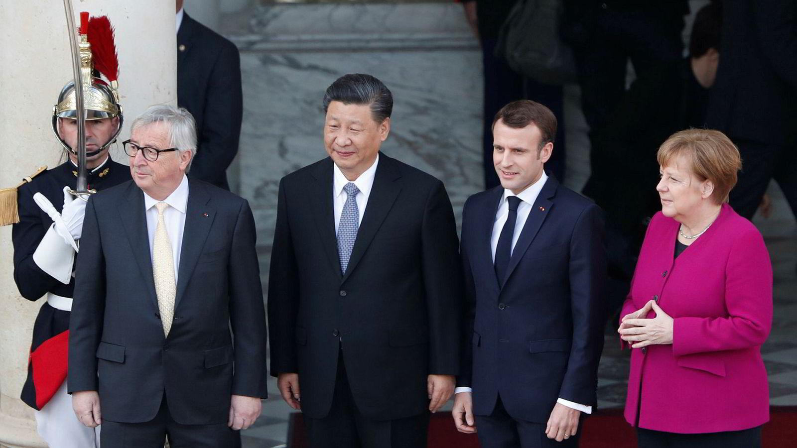 Da Kinas president Xi Jinping nylig besøkte Frankrike, inviterte president Macron også med Europakommisjonens president Juncker og Angela Merkel. Budskapet var klart: EU står sammen.