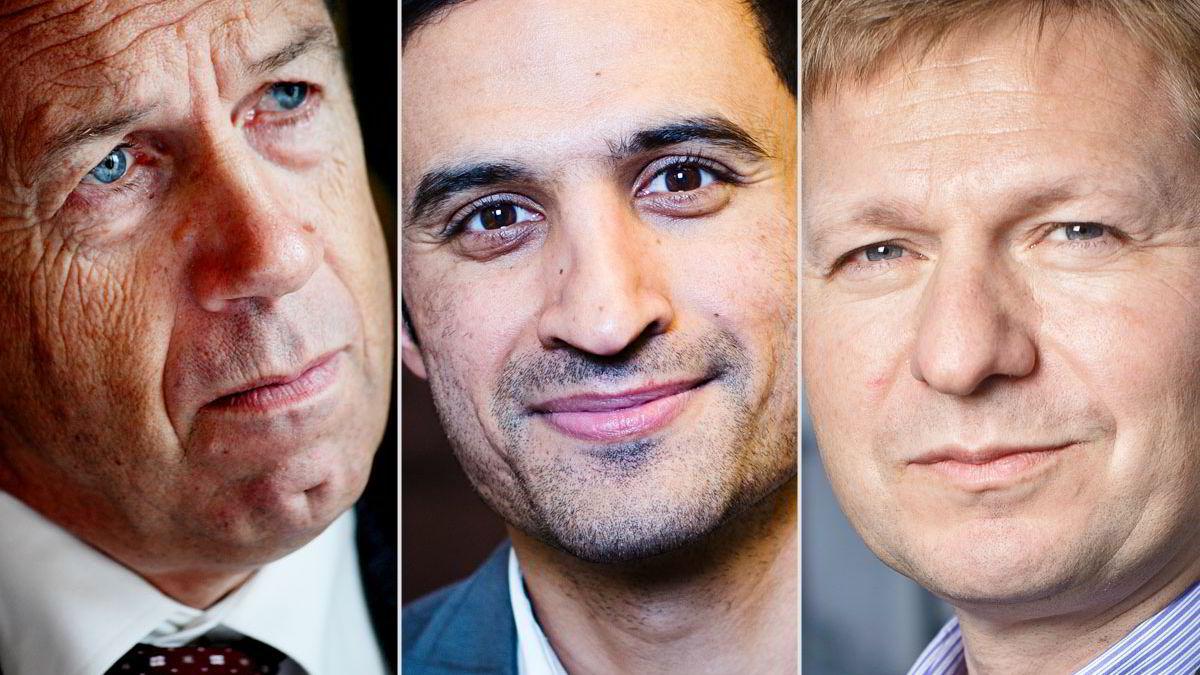 Sentralbanksjef Øystein Olsen (t.v.), sjeføkonom Shakeb Syed og kredittanalysesjef Pål Ringholm.