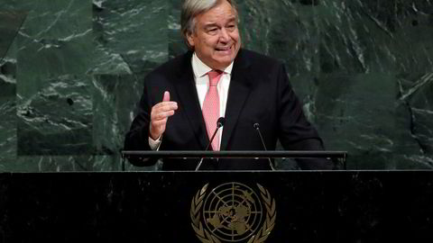 FNs generalsekretær António Guterres under talen han holdt under fjorårets hovedforsamling.