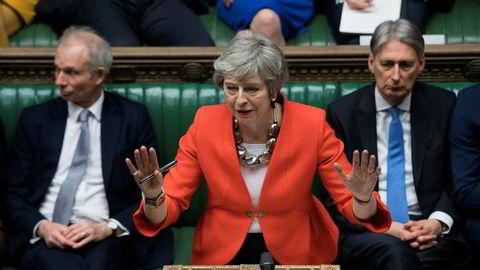 Storbritannias statsminister Theresa May i Underhuset onsdag