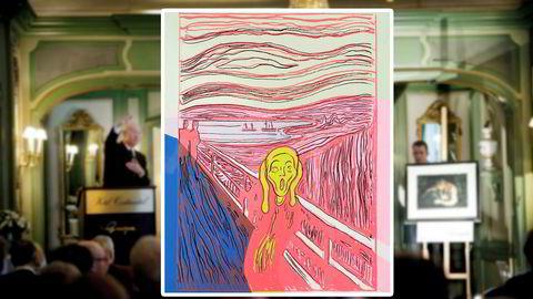 """Einar Aas solgte et Andy Warhol serigrafi etter Munchs """"Skrik"""" på Grev Wedel plass auksjoner."""