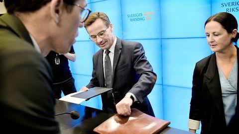 Moderaternas leder Ulf Kristersson holdt søndag pressekonferanse etter at han fikk nei for sin regjeringsplan på lørdag. Nå gir han opp å danne regjering.