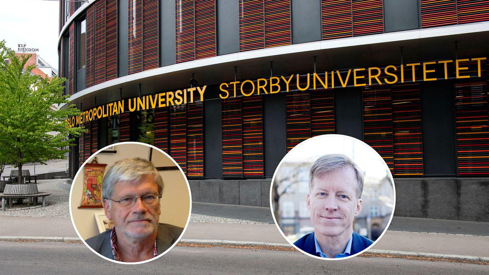 Dette skiltet på Oslomet har fått mange til reagere, blant annet professor Anders Breidlid (innfelt t.v.) Men rektor Curt Rice (innfelt t.h.) har ingen planer om å fjerne det.