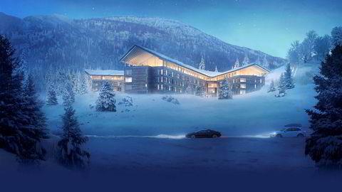 Slik blir hotellet og leilighetsanlegget til Buchardt i Hemsedal.