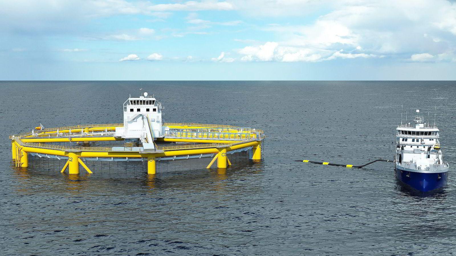 Havmerden til Salmar blir 65 meter høy og 110 meter bred og får plass til 1,6 millioner laks. Illustrasjon: Salmar