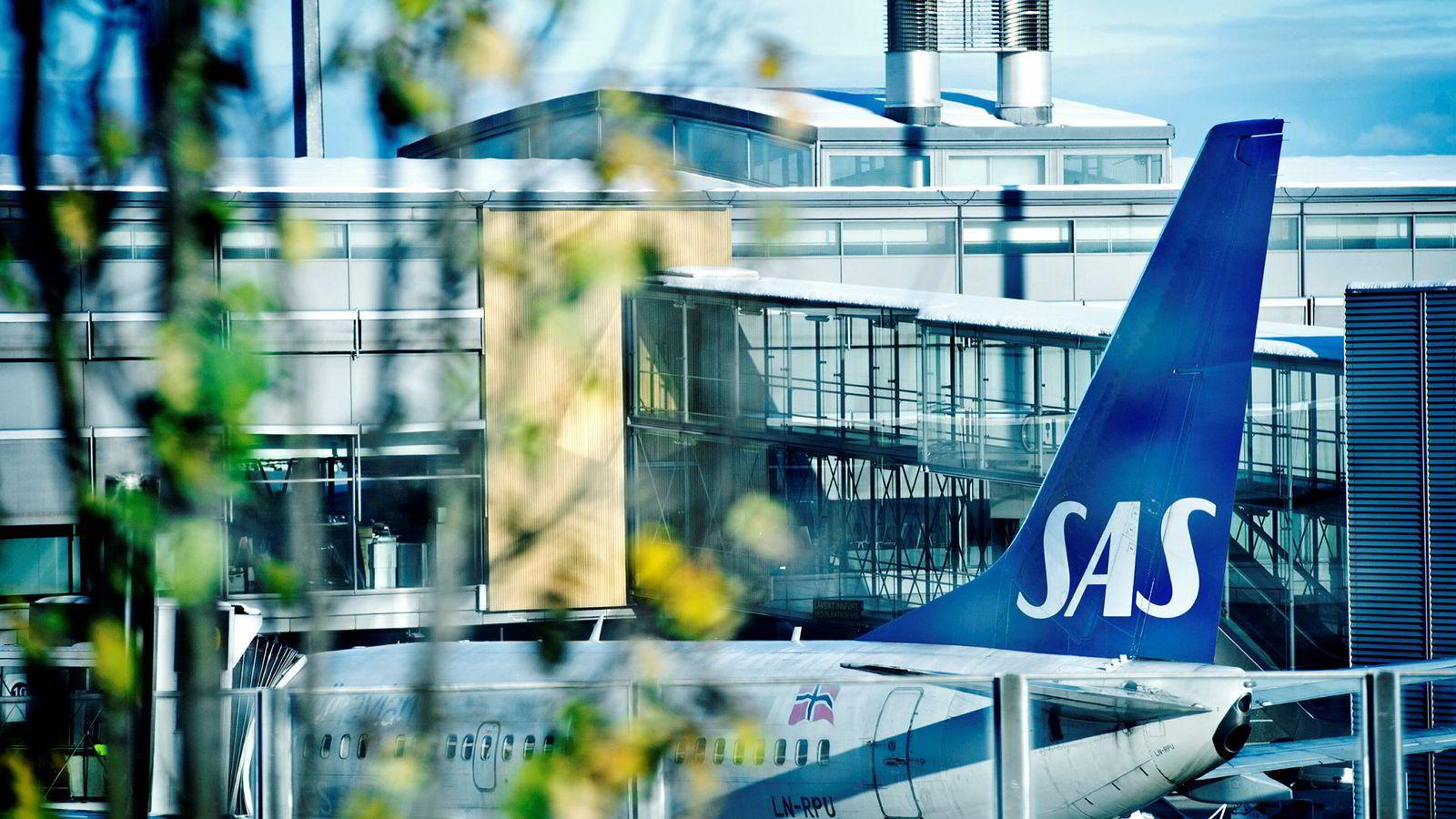Over 200 SAS-avganger er avlyst, og blir stående som her på Gardermoen.