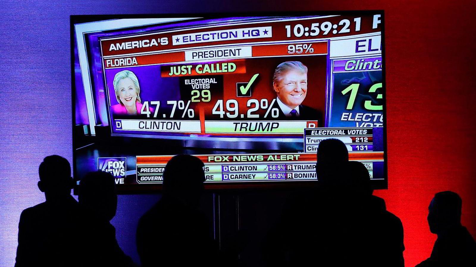 MogIA bruker en rekke økonomiske parametere for å forutsi valgutfall. Det har den lykkes godt med. Nå, derimot, spådde den at Clinton ville få 322 valgmannsstemmer. Det er 52 flere enn hva hun trengte for å vinne. Foto: Mark Wilson/ Getty / NTB Scanpix