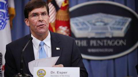 Mark Esper er fungerende forsvarsminister i USA. Nå vil Donald Trump utnevnte ham permanent.