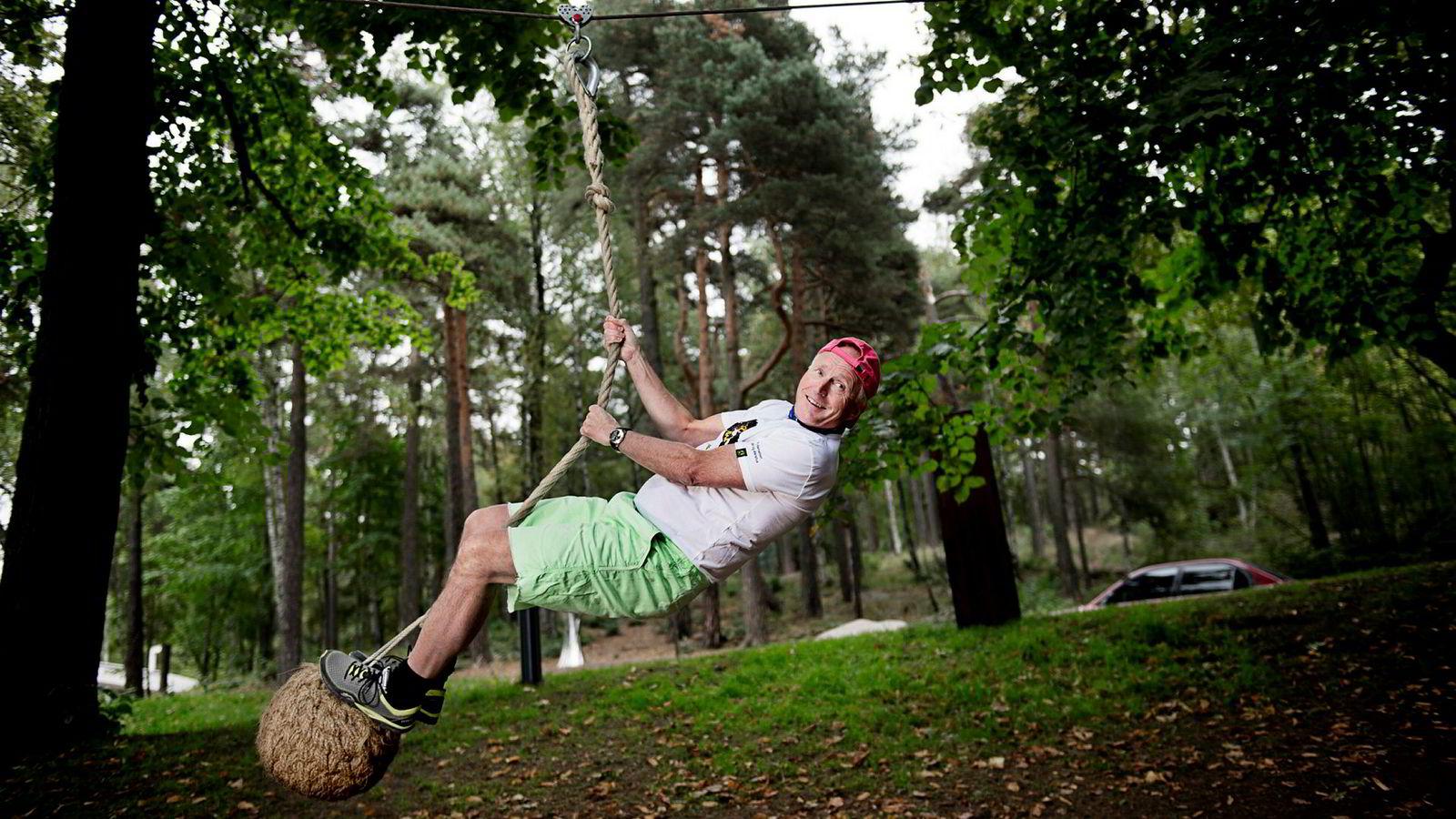 Christian Ringnes i klatreparken på Ekeberg i Oslo, som åpnet i 2014 da skulpturparken markerte ettårsjubileum.