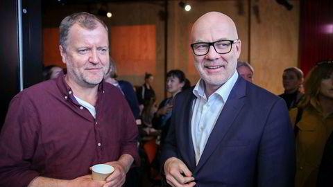 Underholdningsredaktør Charlo Halvorsen og kringkastingssjef Thor Gjermund Eriksen på NRKs høstslipp u juni. Siden har de begge vært gjenstand for hard kritikk etter et innslag i satireprogrammet Satiriks