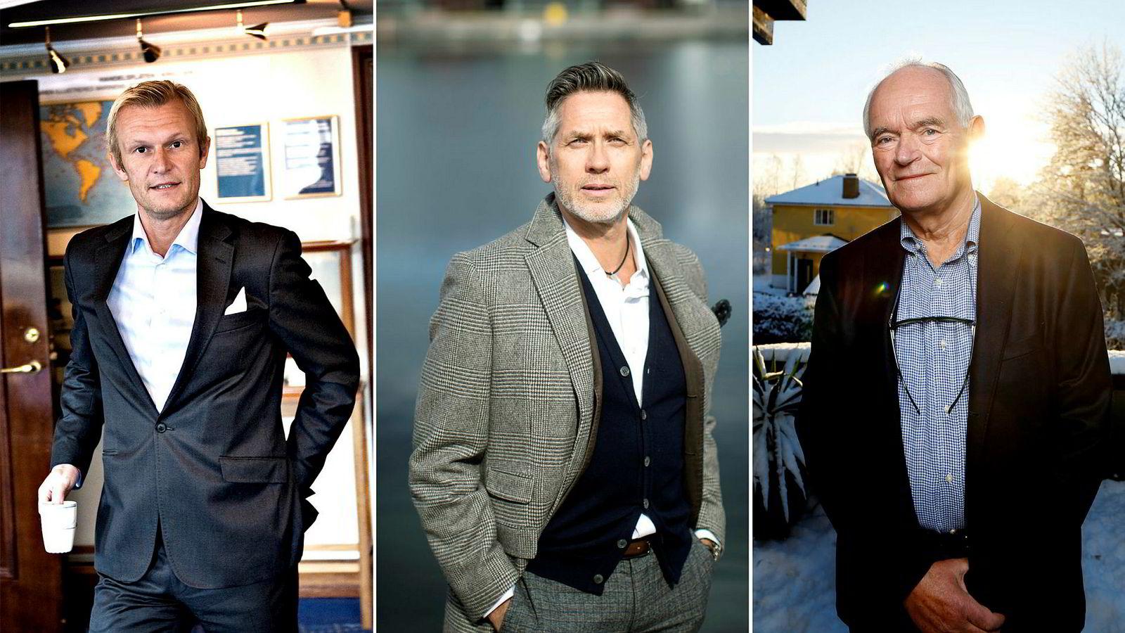 Styreleder Lars Moldestad (fra venstre), toppsjef Jonny Hesthammer, og investor Trond Mohn i oljeselskapet M Vest Energy satser på oljeopptur.