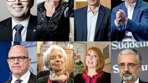 Fra venstre: Svein Richard Brandtzæg , Kristin Clemet, Jens Stoltenberg, Eric Schmidt, H.R. McMaster, Christine Lagarde , Annie Lööf og Paul Achleitner.