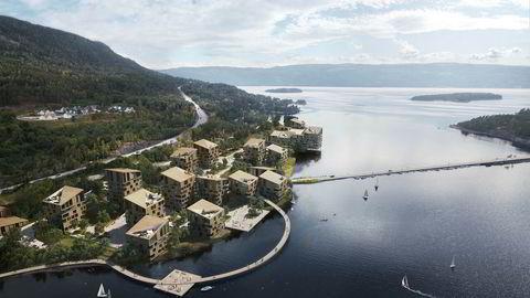 Slik ser Sundvolden Hotel-eier Tord Moe Laeskogen for seg fjordbyen ved Tyrifjorden med 200 boliger og et spa- og velværehotell med 200 rom.