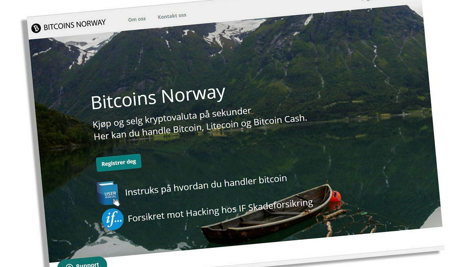 I 2018 reklamerte Bitcoins Norge for at kryptobørsen var «forsikret mot hacking hos If skadeforsikring». Skjermdump av selskapets nettsider i februar 2018.