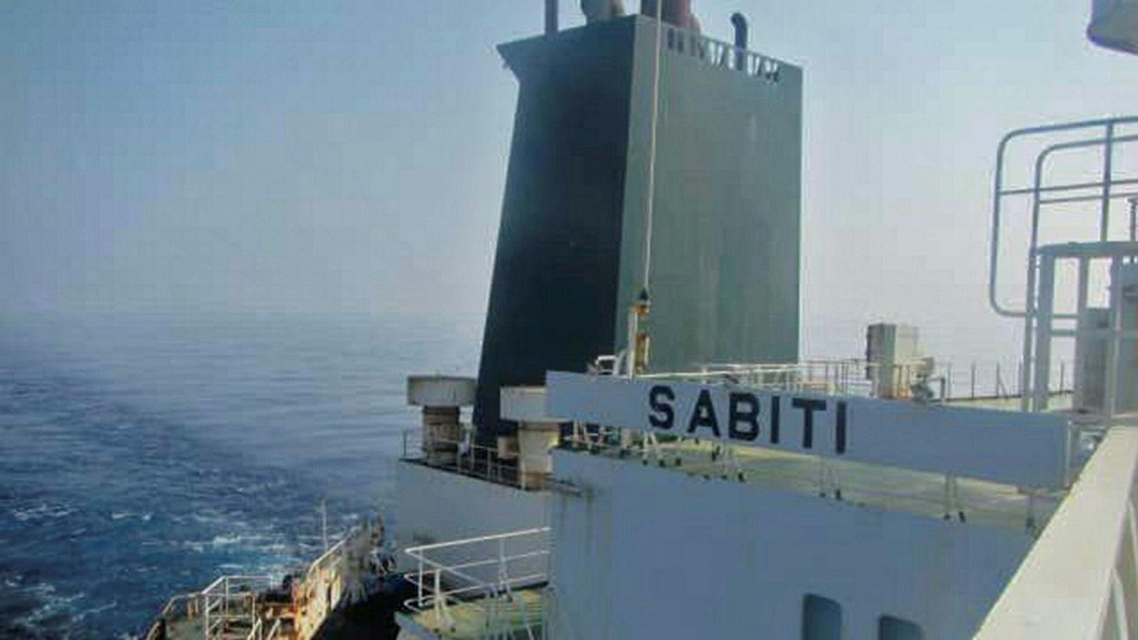 Det iranske tankskipet «Sabiti» skal ha blitt angrepet i Rødehavet. Her et tidligere bilde som statlig iransk tv har offentliggjort i dag.
