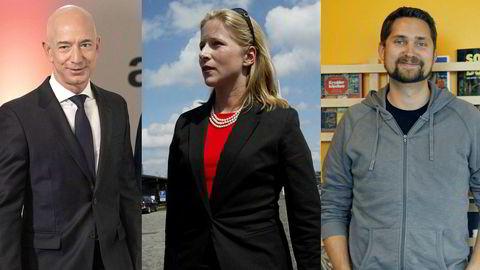 Fra venstre: Amazon-boss Jeff Bezos, Kinnevik-eier Cristina Stenbeck og Kolonial.no-sjefen Karl Alveng Munthe-Kaas.