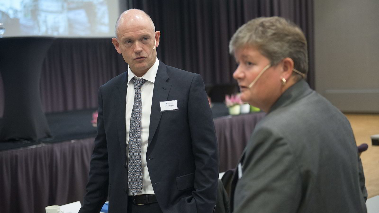 Ståle Kyllingstad,konsernsjef IKM Gruppen, og Hege Kverneland (National Oilwell Varco) på Energikonferansen til DN.