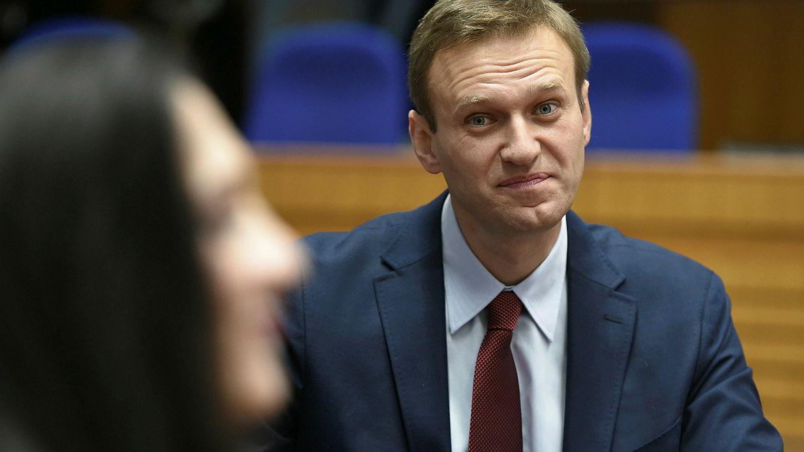 Den europeiske menneskerettighetsdomstolen konstaterte torsdag at Russlands gjentatte pågripelser av Aleksej Navalnyj (bildet) har vært politisk motivert.