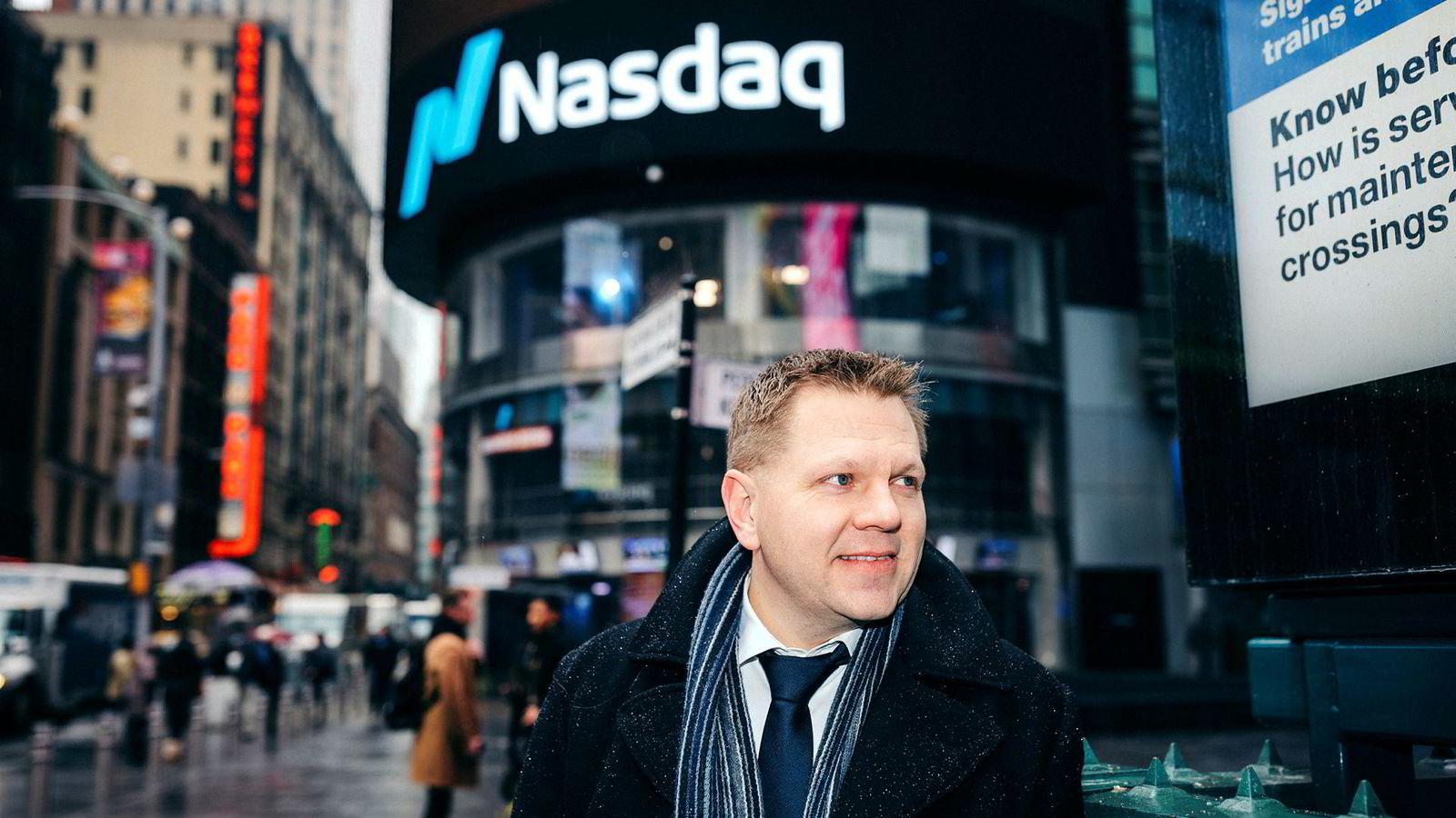 Nordeas sjefstrateg Leif-Rune Rein tror børsfesten kan vedvare. Her foran Nasdaq, som også snuser på rekordnivåer i disse dager.