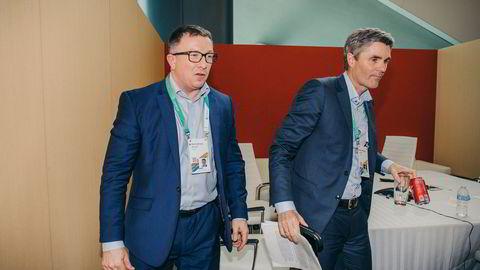 John Markus Lervik (til høyre) i Cognite lander nye avtaler med olje- og gasselskaper i utlandet, senest østerrikske OMV. Her under en oljekonferanse i Houston, Texas tidligere i år med Aker BP-sjef Karl Johnny Hersvik.