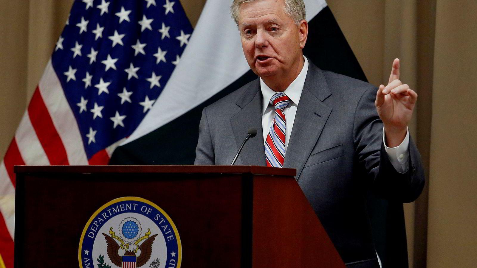 U.S. Republican Senator Lindsey Graham speaks during a press conference at the U.S. Embassy in Islamabad, Pakistan, Sunday, Jan. 20, 2019. (AP Photo/Anjum Naveed)
