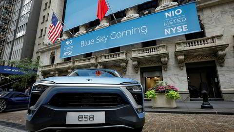 El-suven ES8 fra den kinesiske elbilprodusenten Nio, her da selskapet ble notert på Wall Street 12. september i år.