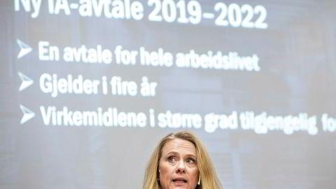 Arbeids- og sosialminister Anniken Hauglie presenterte tirsdag den nye avtalen om inkluderende arbeidsliv (IA).